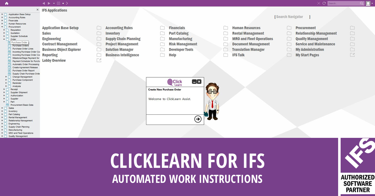 clicklearn for ifs applications improve your ifs work instructions